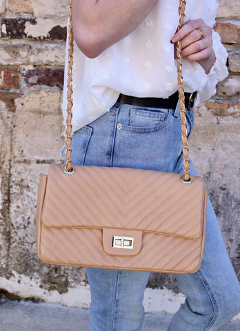 Cosby Quilted Bag With Braided Strap Tan