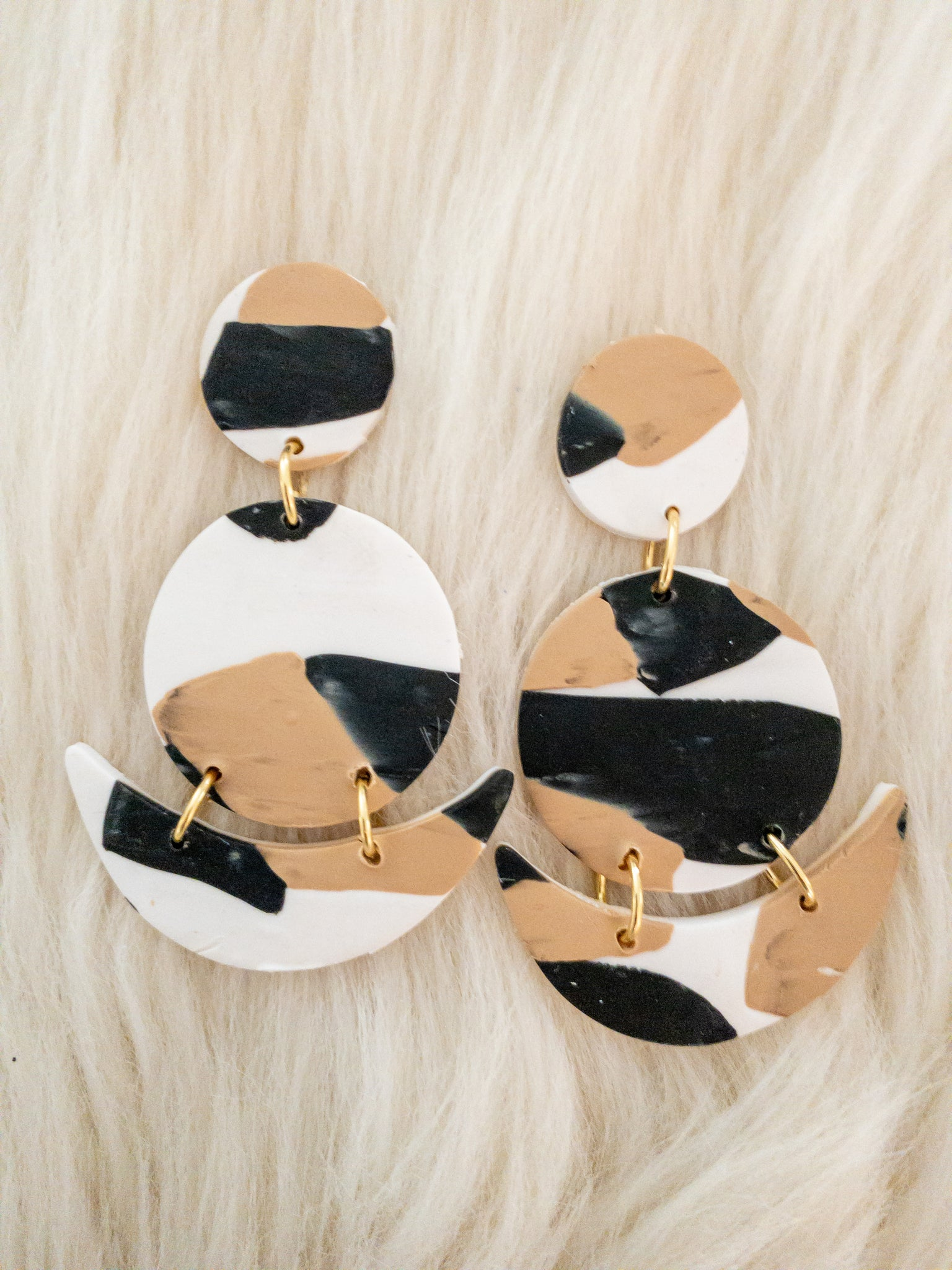 Abstract Black, Cream & Tan Clay Earrings