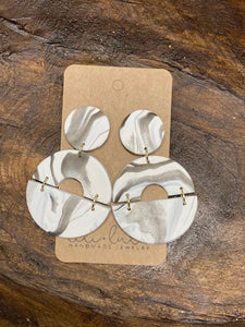 Marble Circle Clay Earrings