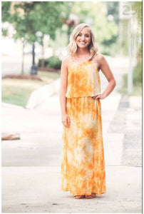 Chiffon Marigold Watercolor Maxi Dress