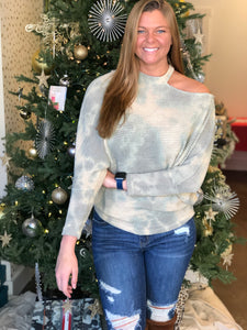 Sage Tie-Dye Round Neck Sweater