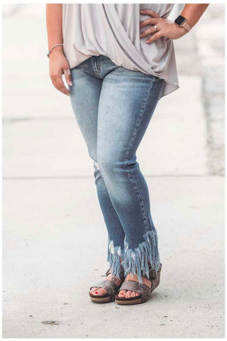 KanCan Light Wash High Rise Fringe Bottoms