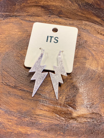 "Brushed Silver Lightening Bolt 2"" Earrings"