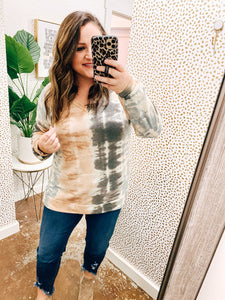 Peach & Charcoal Tie Dye Top