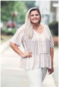 Curvy Striped Button Down Peplum Top