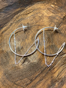 "Silver hoop with chain 2"" earring"