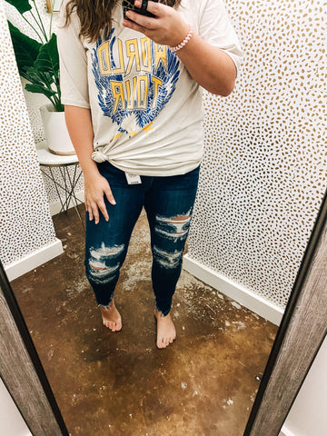Louise Judy Blue Hi Rise Crop Skinnies