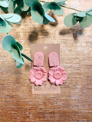 Mauve Floral Clay Earrings