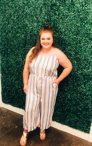 CURVY Hideaway Striped Jumpsuit