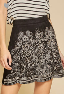 Embroidered & Embelished Black Faux Suede Skirt