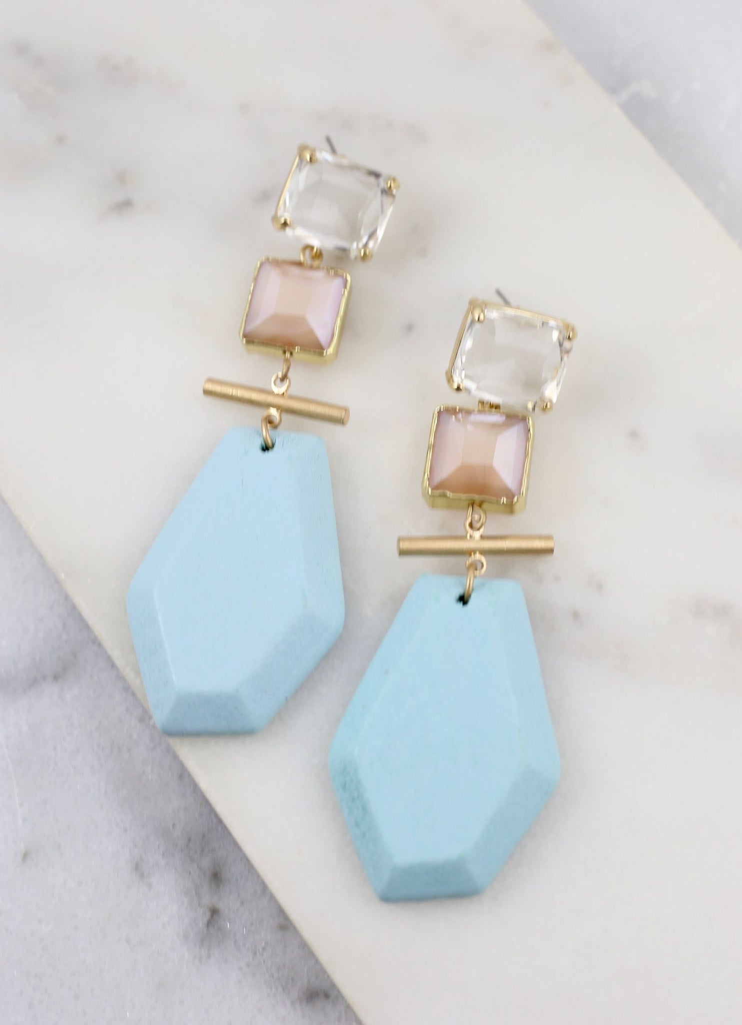 Mills Bead Post Statement Earring Aqua