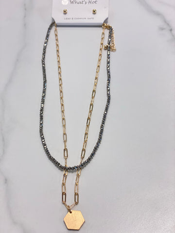 Grey Crystal & Gold Chain Two Layers Hexagon Necklace