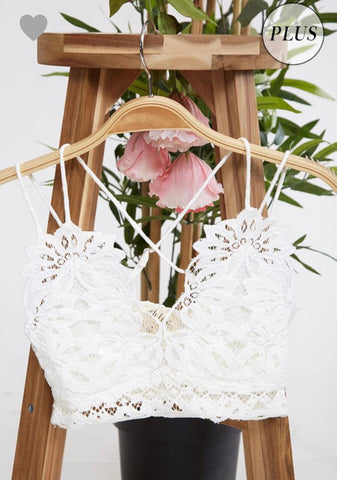 Curvy Double Strap Scalloped Lace Bralette