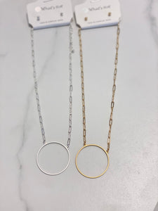 "Matte Circle Pendant 16-18"" Necklace (2 colors)"