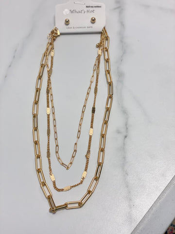 "Gold Three Layered 16""-20"" Necklace (Multi-Function)"