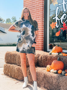 Fall Tie Dye Babydoll Dress {S-3X}