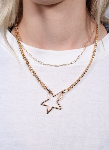 Leslie Chain Necklace With Metal Star Accent Gold