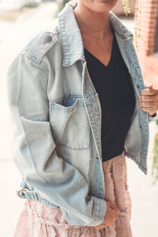 Cropped Light Wash Denim Jacket