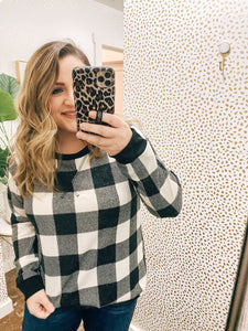 Black and Ivory checkered sweater