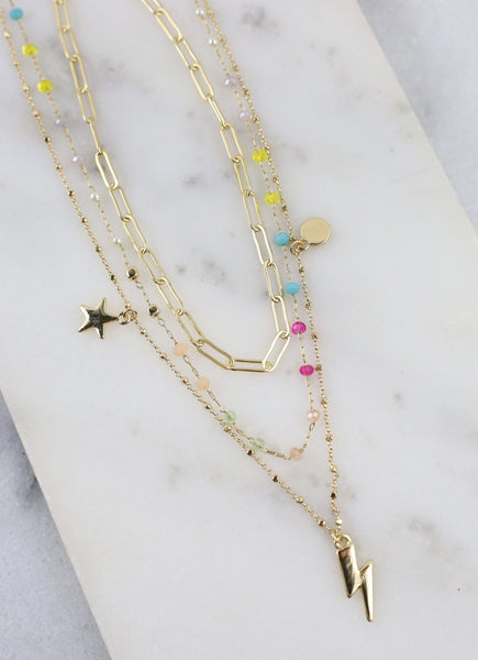 Kaitlyn Triple Layer Necklace with Charms