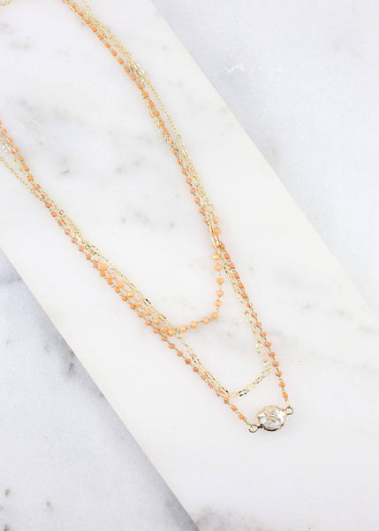 Hinson Mixed Bead Layered Necklace With Pearl Orange