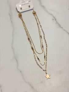 Gold Triple Layered with Crystals & Stars Multi Functional Necklace