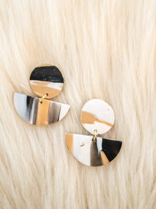 Black, Cream and Tan Clay Earrings