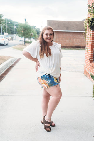 Curvy Distressed Denim Shorts- Tie Dye