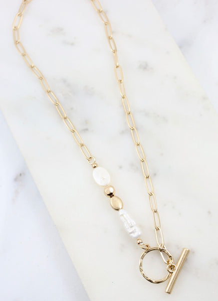Swenson Necklace with Pearl and Toggle