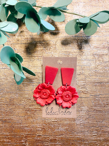 Red Floral Clay Earrings