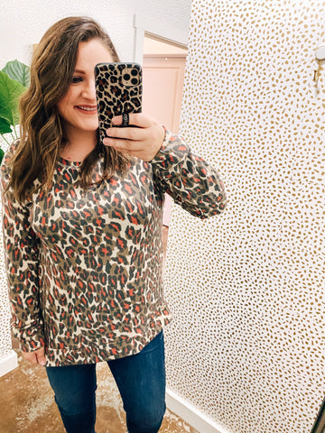 Mocha/Orange Sassy Leopard L/S Top