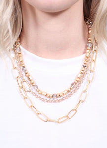 Calico Triple Layered Bead And Link Necklace Worn Gold