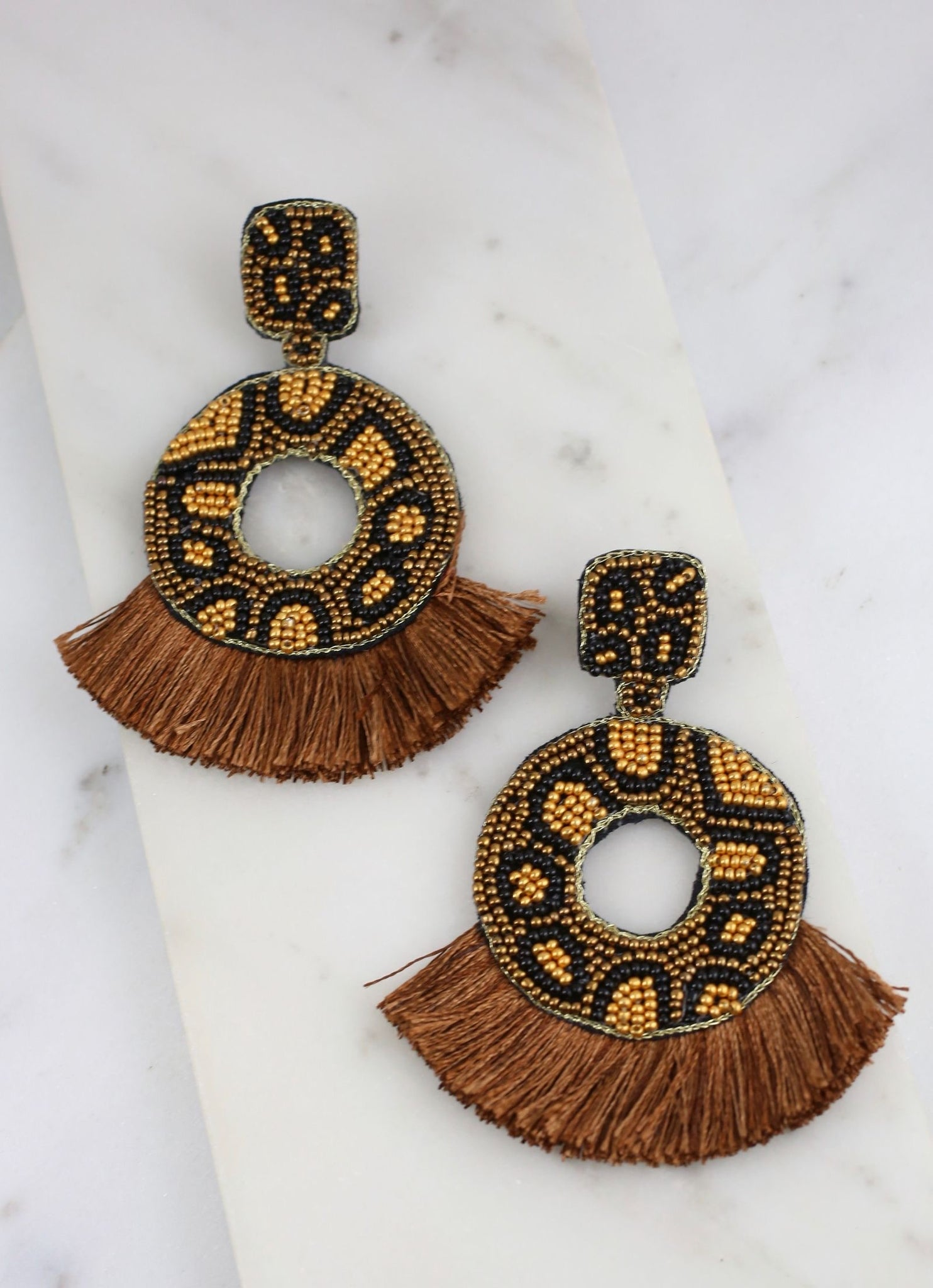 Naylor Leopard Bead Earrings with Fringe