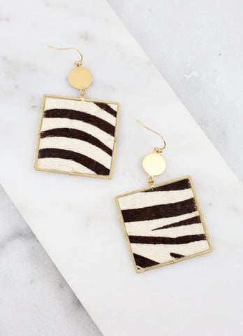 Remmi Square Animal Print Fish Hook Earring Zebra