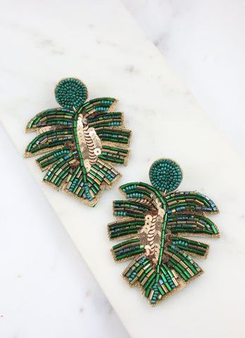 Long Beach Palm Embellished Earring