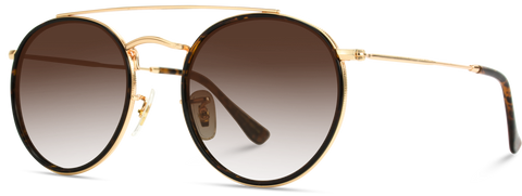 Double Bridge Metal Round Sunglasses with Brown Gradient Lenses