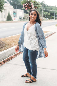 Textured High Low Kimono with Ruffles