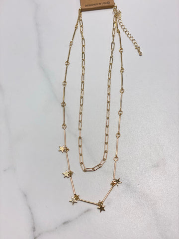 "Gold Chain with Stars 2 Layer 16-18"" Necklace"