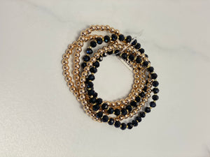 Crystal and Gold Beaded Set of 5 Stretch Bracelet