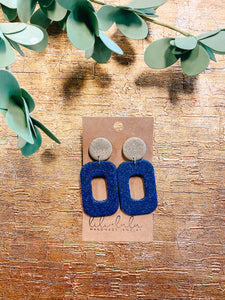 Glitzy Navy Clay Earrings