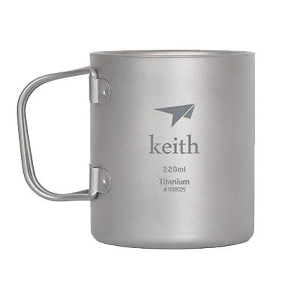 Keith Ti3351 New Double-wall Titanium Mug Camping Cup Water Cup 220ml 83g KS813