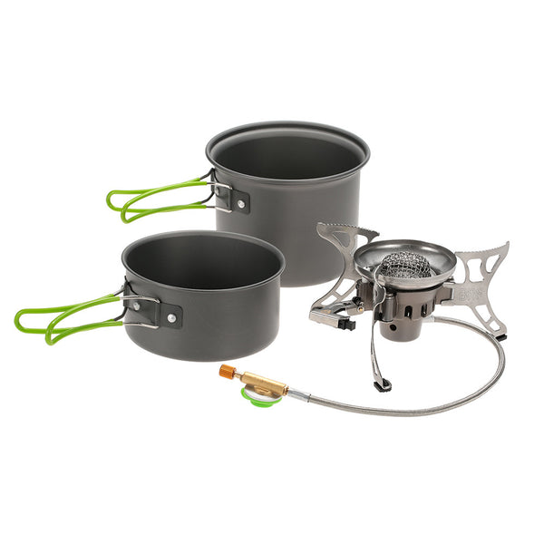 BRS-T15A Outdoor Camping Cookware Hiking Picnic Non-sticky Cooking Pot Sets Split Cooking Tool Set Windproof Gas Stove Furnace