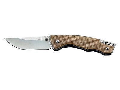 Sanrenmu 7095LUC-GV1 Pocket Folding Knife 12C27 Blade Tan G10 Handle w/ Clip