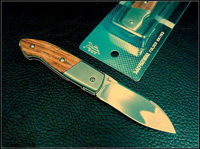 Sanrenmu 7028LUE-XL Pocket  Folding Knife Mirror Polished Blade Wood Handle