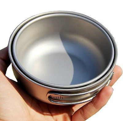 Keith Ti6052 Camping Cookware Outdoor Folding Pot Set Titanium Bowl