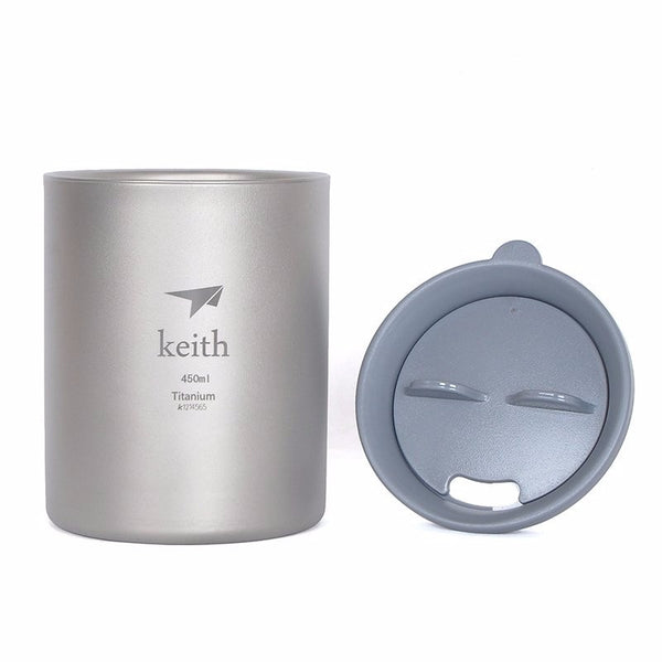 Keith Ti3340 Titanium Cup Mug Double-wall Vacuum Water Cup Outdoor Picnic Cookware 450ml Ti82