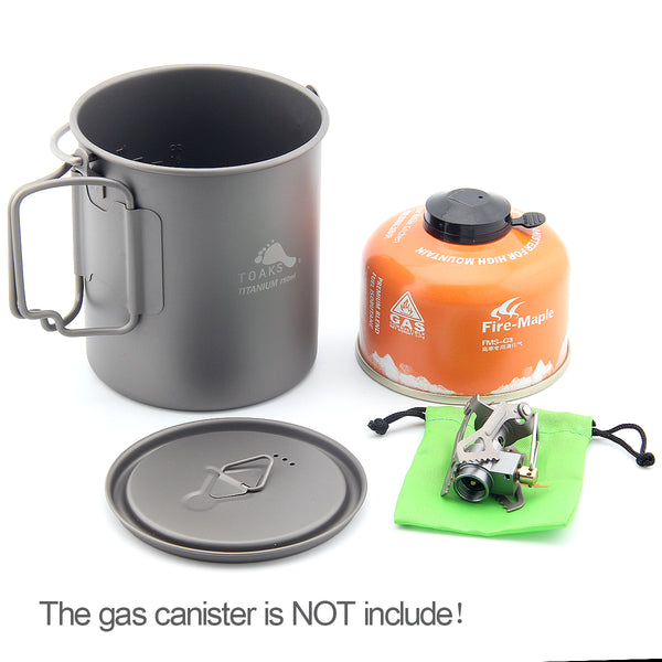 TOAKS 750ml Titanium Pot and BRS-3000T Titanium Gas Stove Solo Camping Cookset