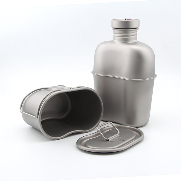 Keith Ti3060 Titanium Army Military Water Bottle Cup  Pot Canteen Mess Kit set