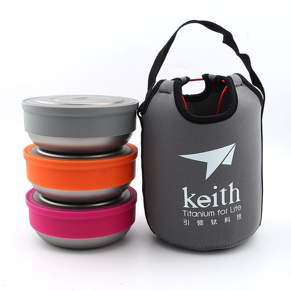 Keith Ti5378 3pcs Titanium Bowl Set With Lid Protable Bento Lunch Boxes Food Container Camping Ultralight Bowl With Carrying Bag