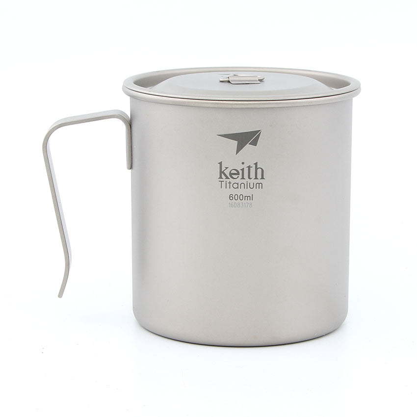 Keith Ti3267 Titanium Camping Cup, Ultralight Cup with Handle, Single-layer Mug